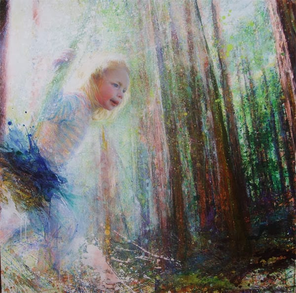 """""""Swing"""" Pinting in acrylic and oil on canvas by British  artist painter-printmaker Marina Kim"""