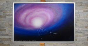 """""""Contact"""" buco bianco - Marina Ravaioli Dimensioni 46 x 28 cm - Olio e pigmenti su legno MDF, finitura opaca. Disponibile. Soggetto, buco bianco dal quale escono navicelle. Colori prevalenti, blu, viola, bianco e nero"""