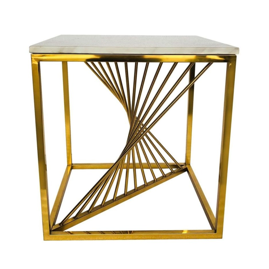alena end table white marble golden