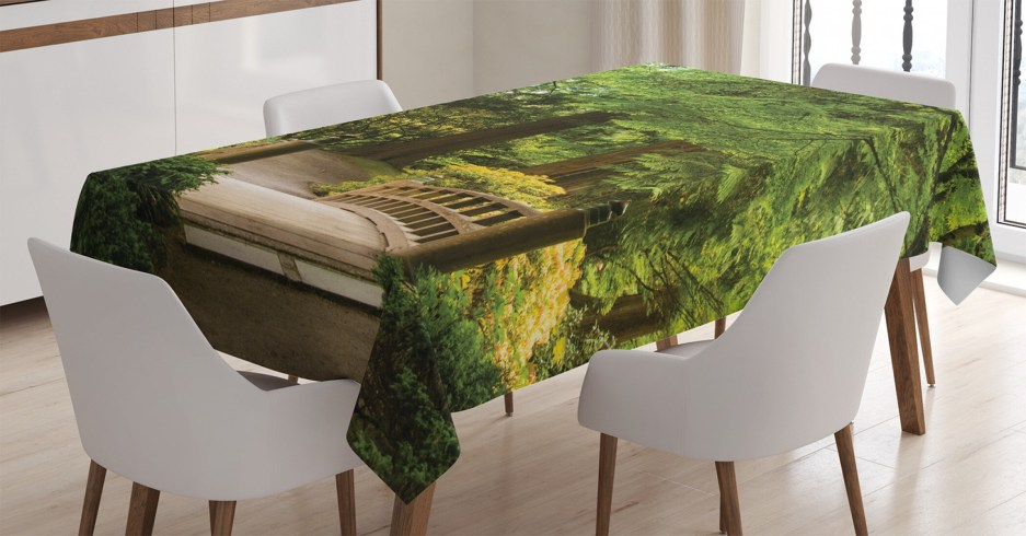 ambesonne japanese tablecloth wooden bridge over pond in garden calmness in shadow of trees serenity in nature rectangular table cover for dining