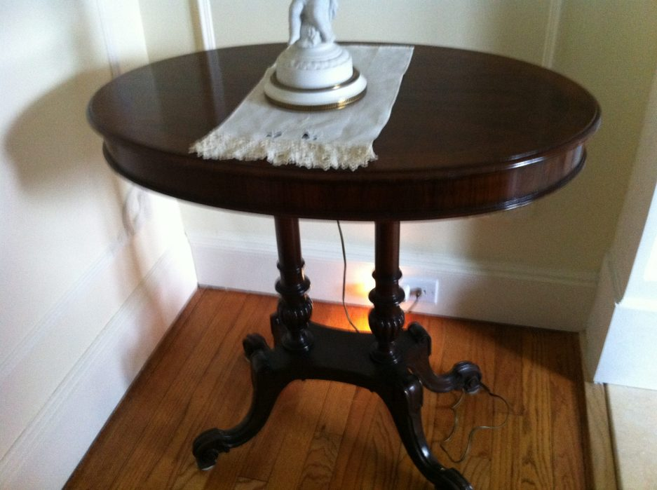 antique oval double pedestal side table with scroll feet mahogany