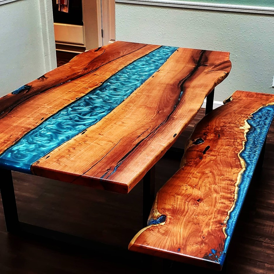 austin wood and epoxy resin river dining table in austin tx