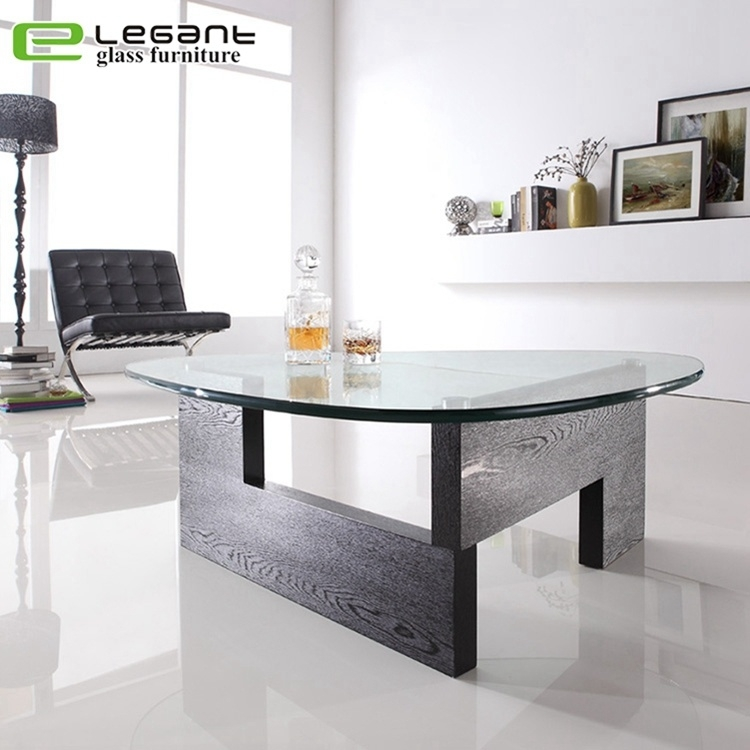 china triangle tempered glass center table with mdf base