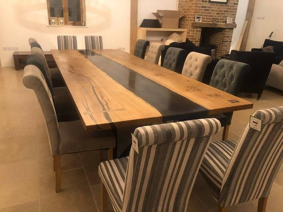 custom made epoxy river dining room table
