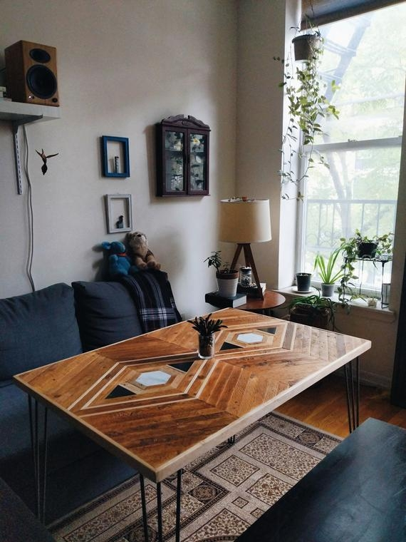 custom reclaimed lath dining table with marble granite inlay