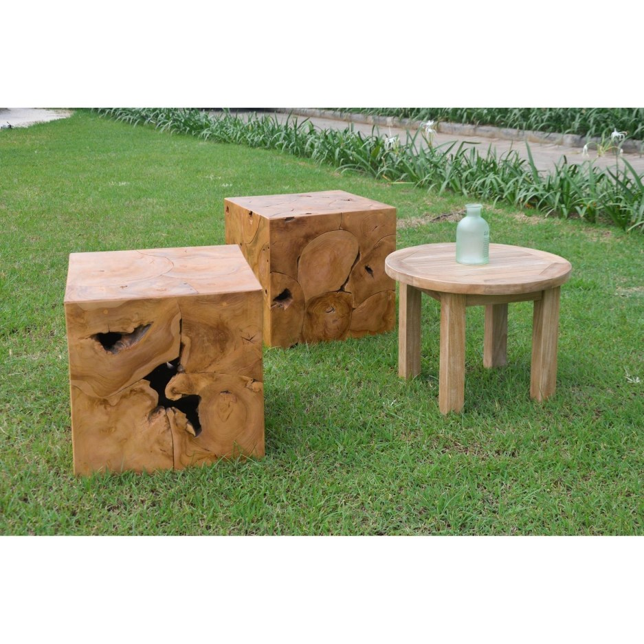 decorative teak root outdoor side table