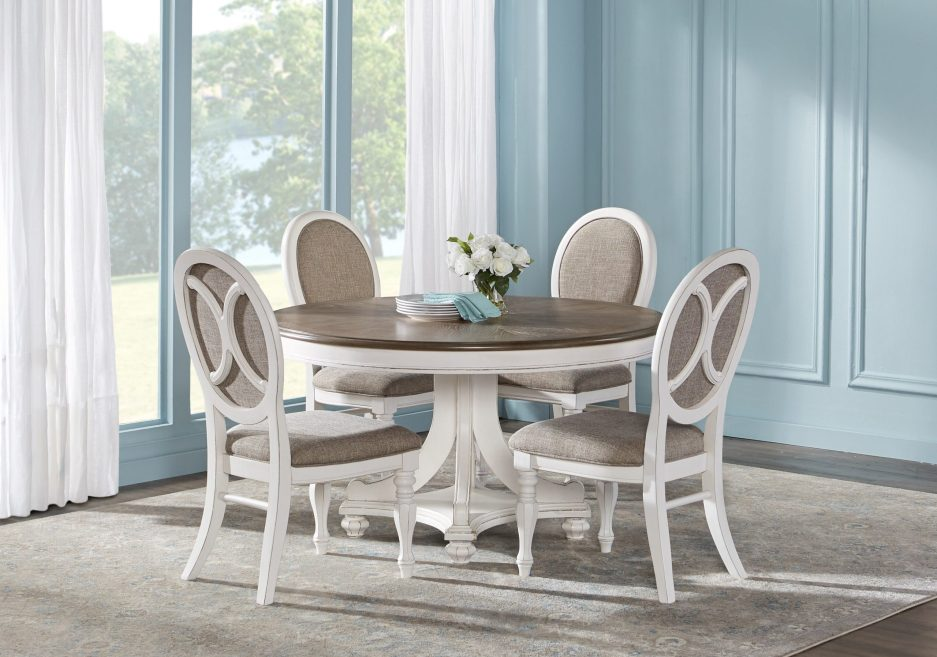french market white 5 pc round dining room