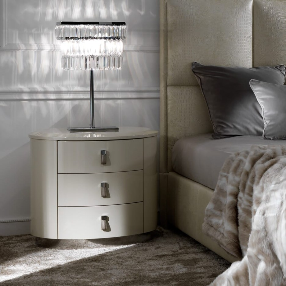 high gloss oval bedside table