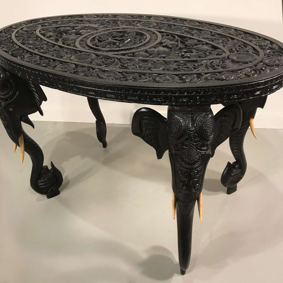 large 19th century oval anglo indian elephant side table