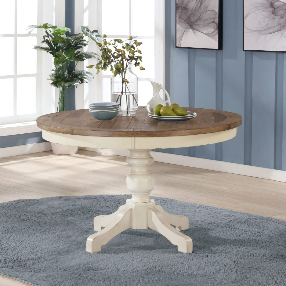 prato round antique white and distressed oak two tone finish wood dining table