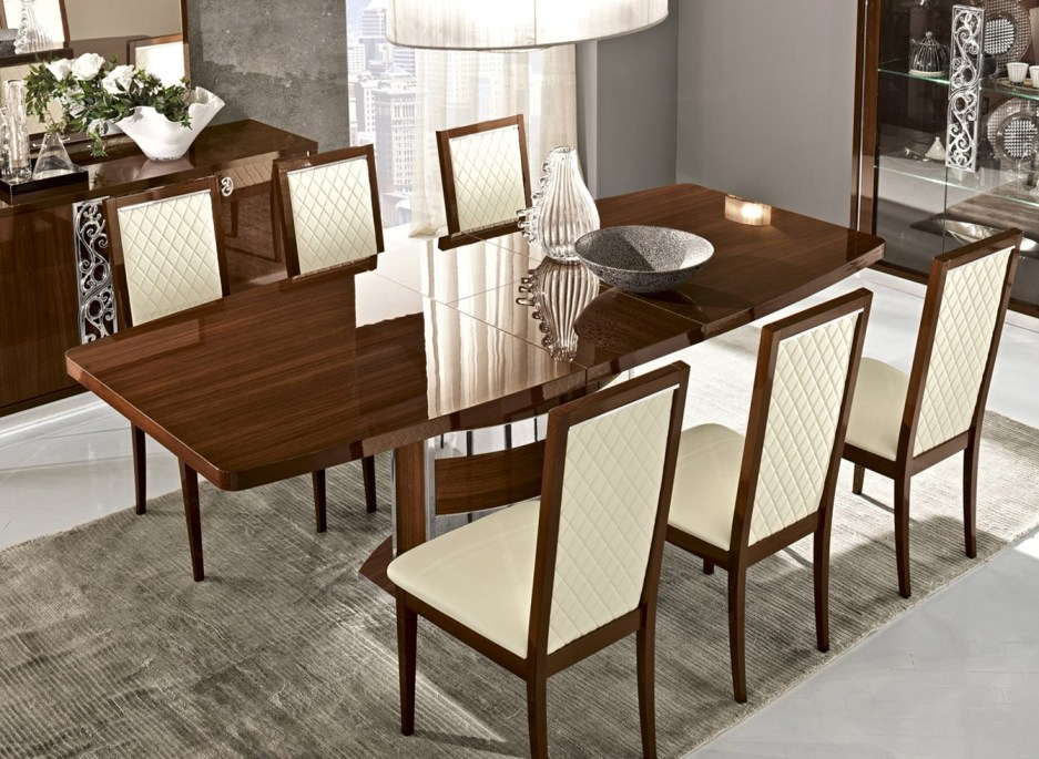 roma dining room set in walnut lacquer finish made in italy