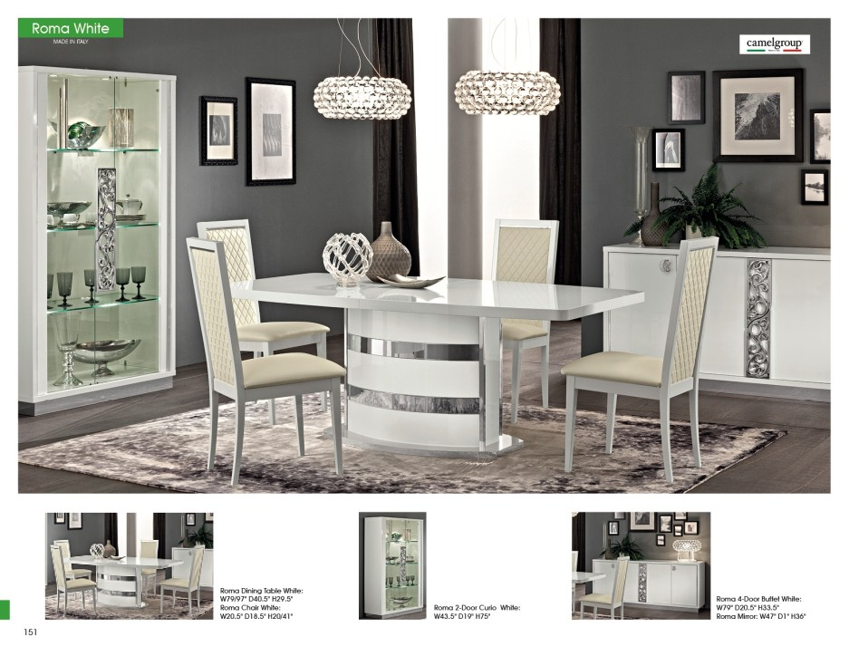 roma dining white italy modern dining room sets dining