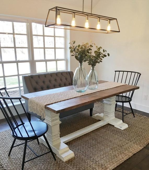 solid wood farmhouse dining room table