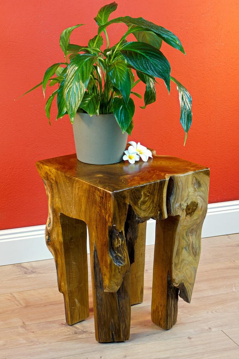 teak burlwood side table square solid wood table from a piece of tree trunk 40 x 30 cm root table bedside table teak flower stand