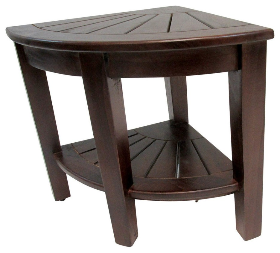 teak corner stool with rack