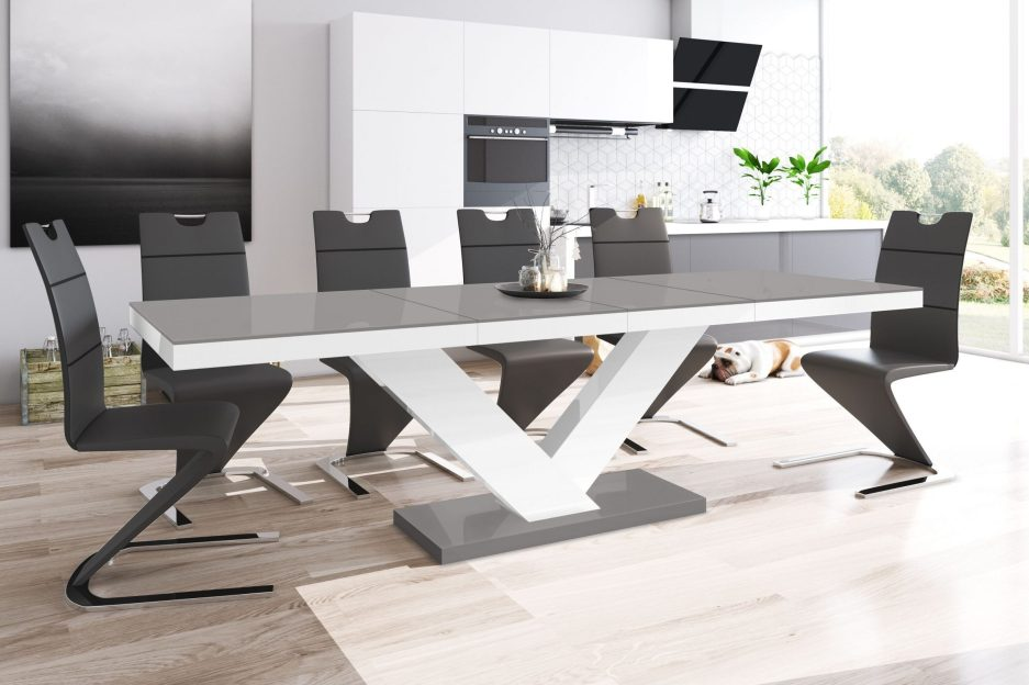 vincenza high gloss grey and white extendable dining table 160cm