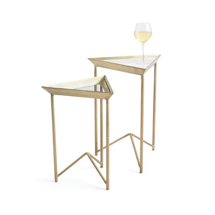 warwick vintage gold triangular tables set