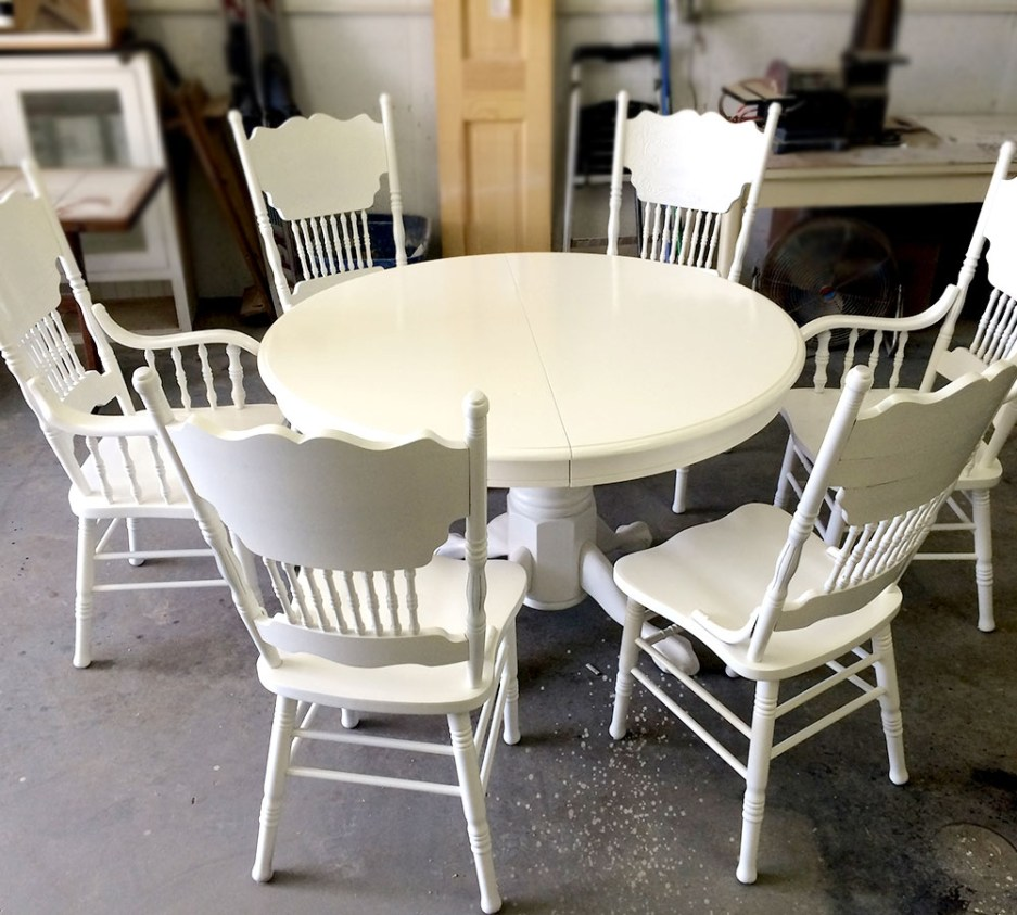 white lacquer solid oak dining room set refinish classic