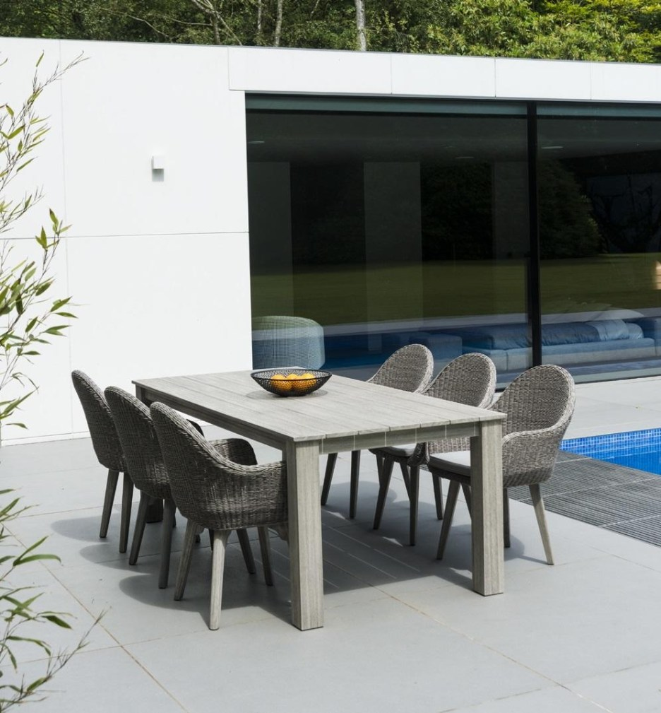 wooden garden dining table in grey hardwood for modern patio