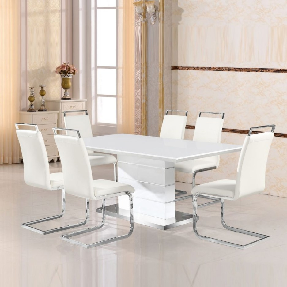 zion 16 dining set white lacquer