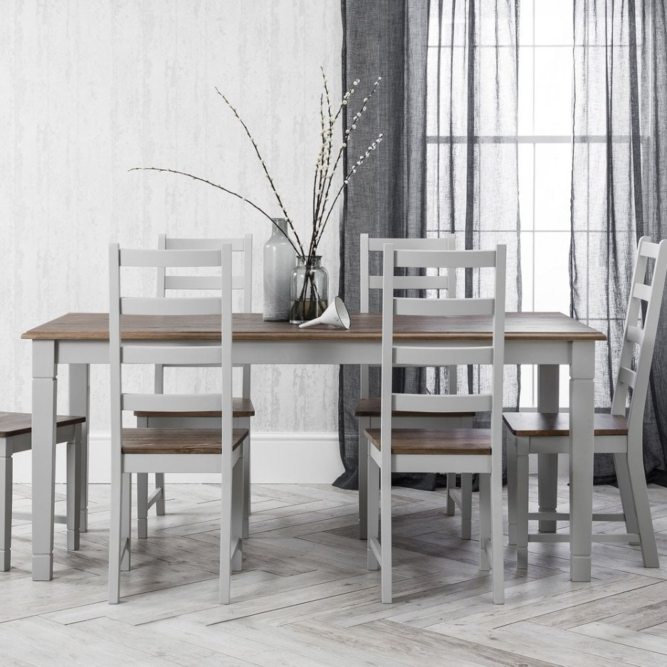 canterbury dining table 140cm in grey and dark pine