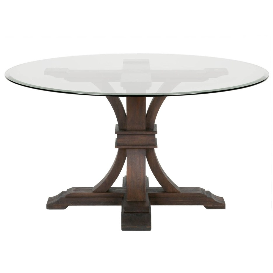 dar 54 inch round glass dining table rustic java brown