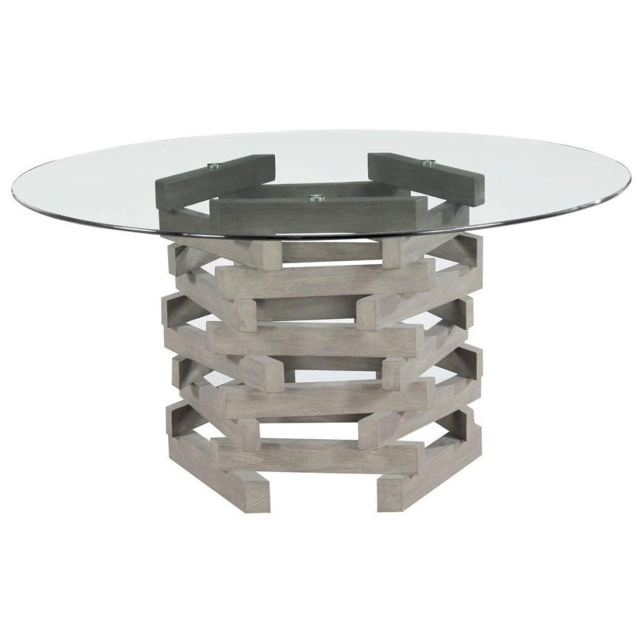 jenga contemporary rustic round dining table with glass top