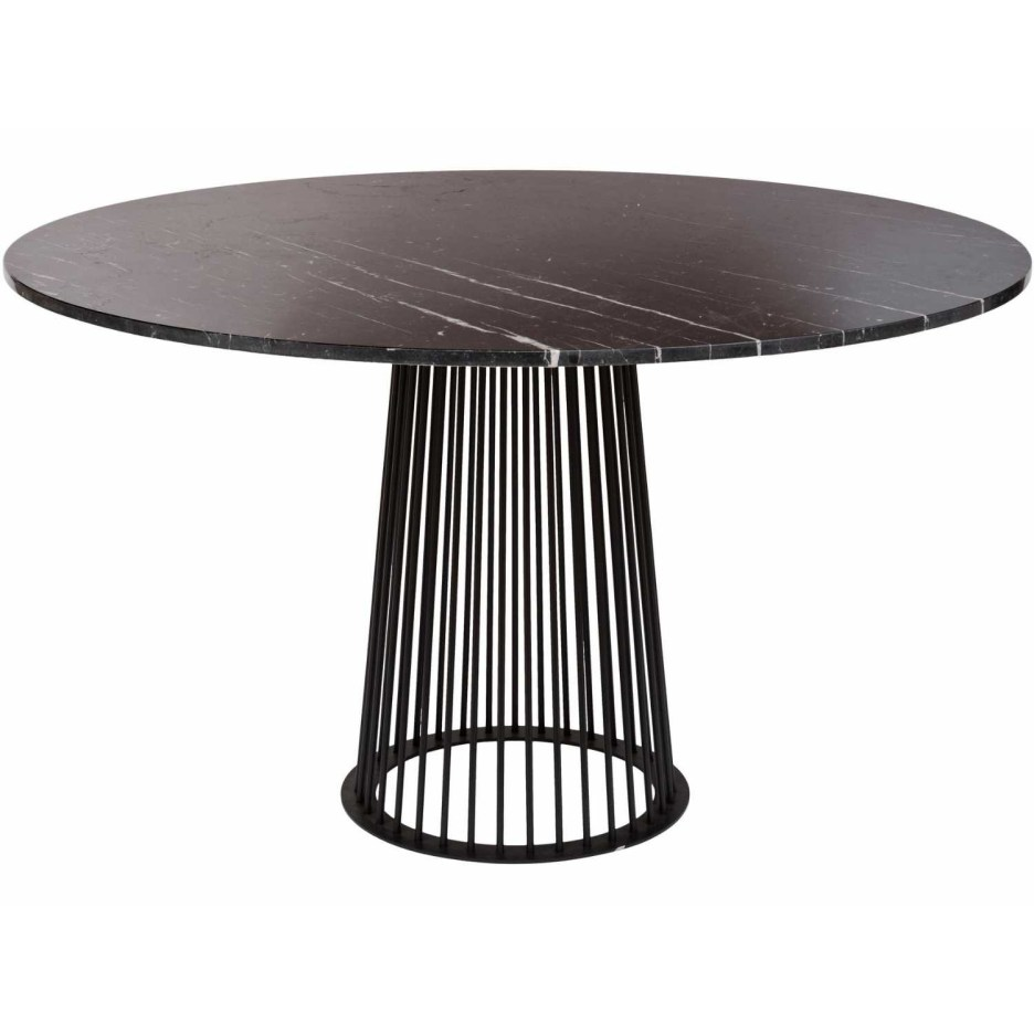 large round polished black marble dining table on metal base 140cm diameter