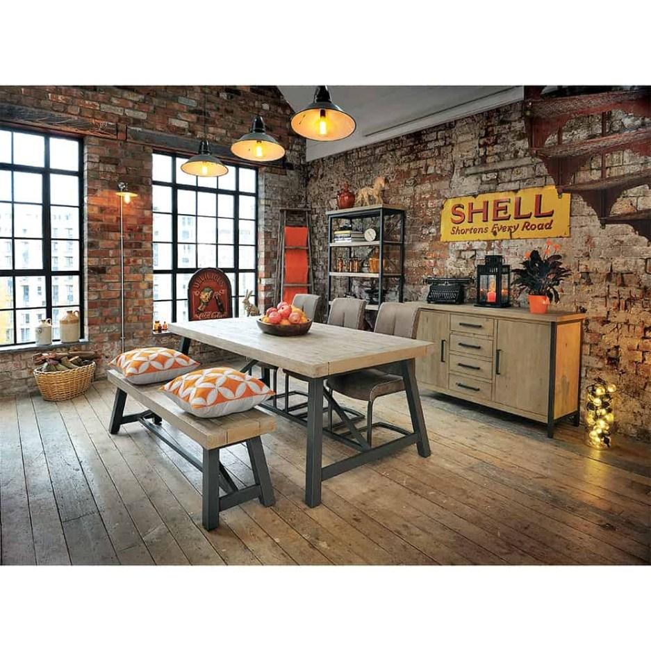 lowry industrial rustic chic dining table with chairs and bench