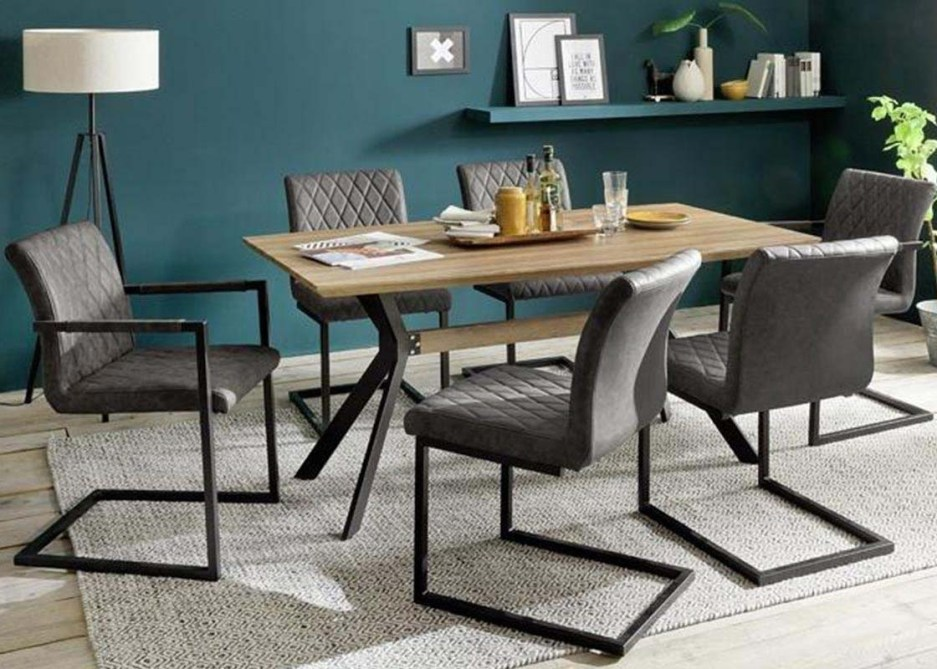 modanuvo industrial 6 seater dining set metal oak table grey vintage leather dining chairs