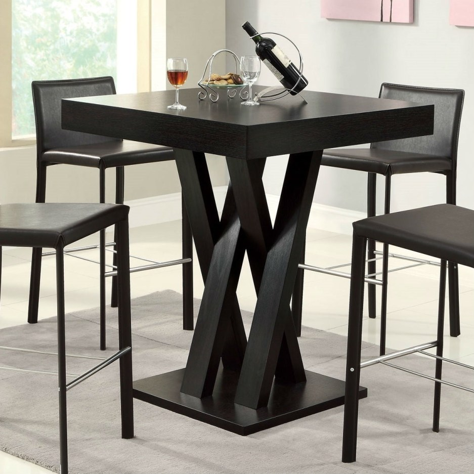 modern 40 inch high square dining table in dark cappuccino finish pictured