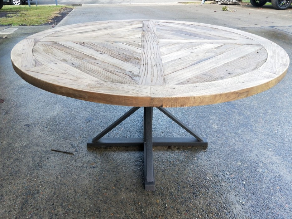 new provincial industrial vintage rustic timber dining round