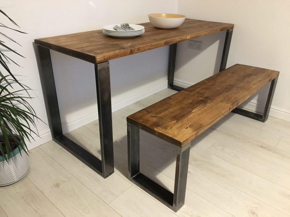 rustic scaffold board dining table bench set