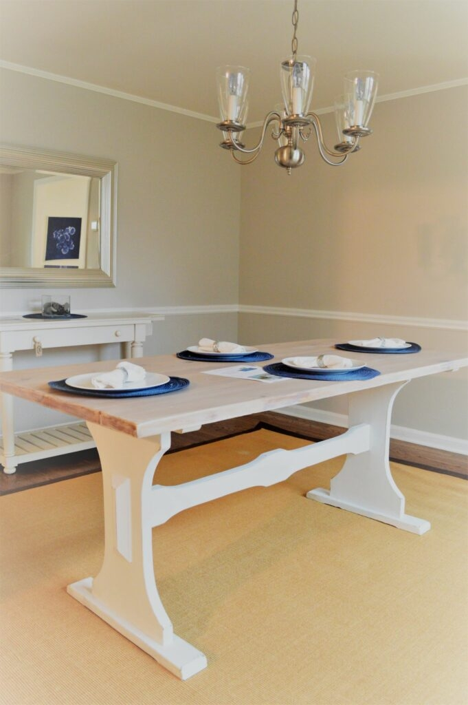 staging a dining room and whitewashing a table