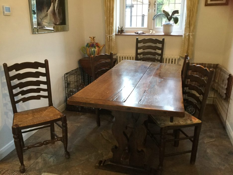 vintage oak dining table 3m x 11m with 10x ladder back chairs surrey