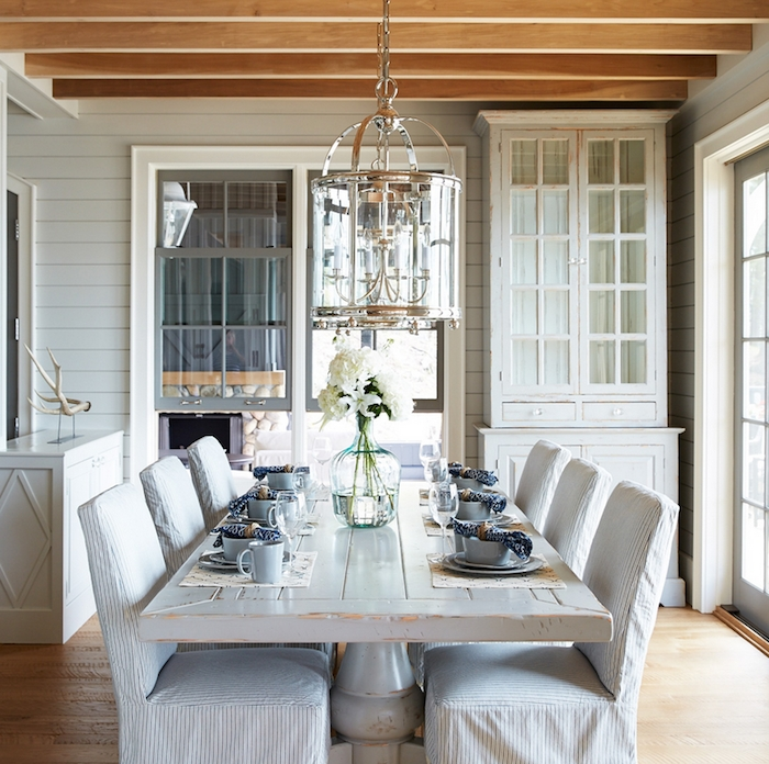 whitewashed dining table with slipcovered chairs cottage