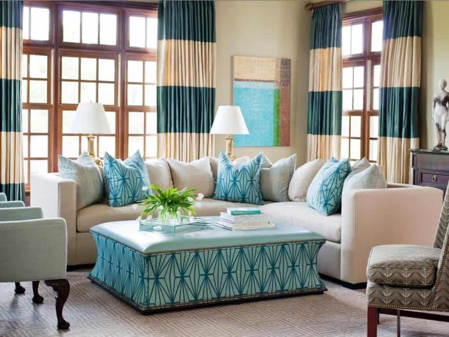 Colourful Curtain and Teal and Brown Living Space