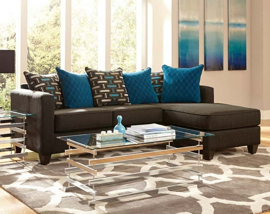 simple teal and brown living room