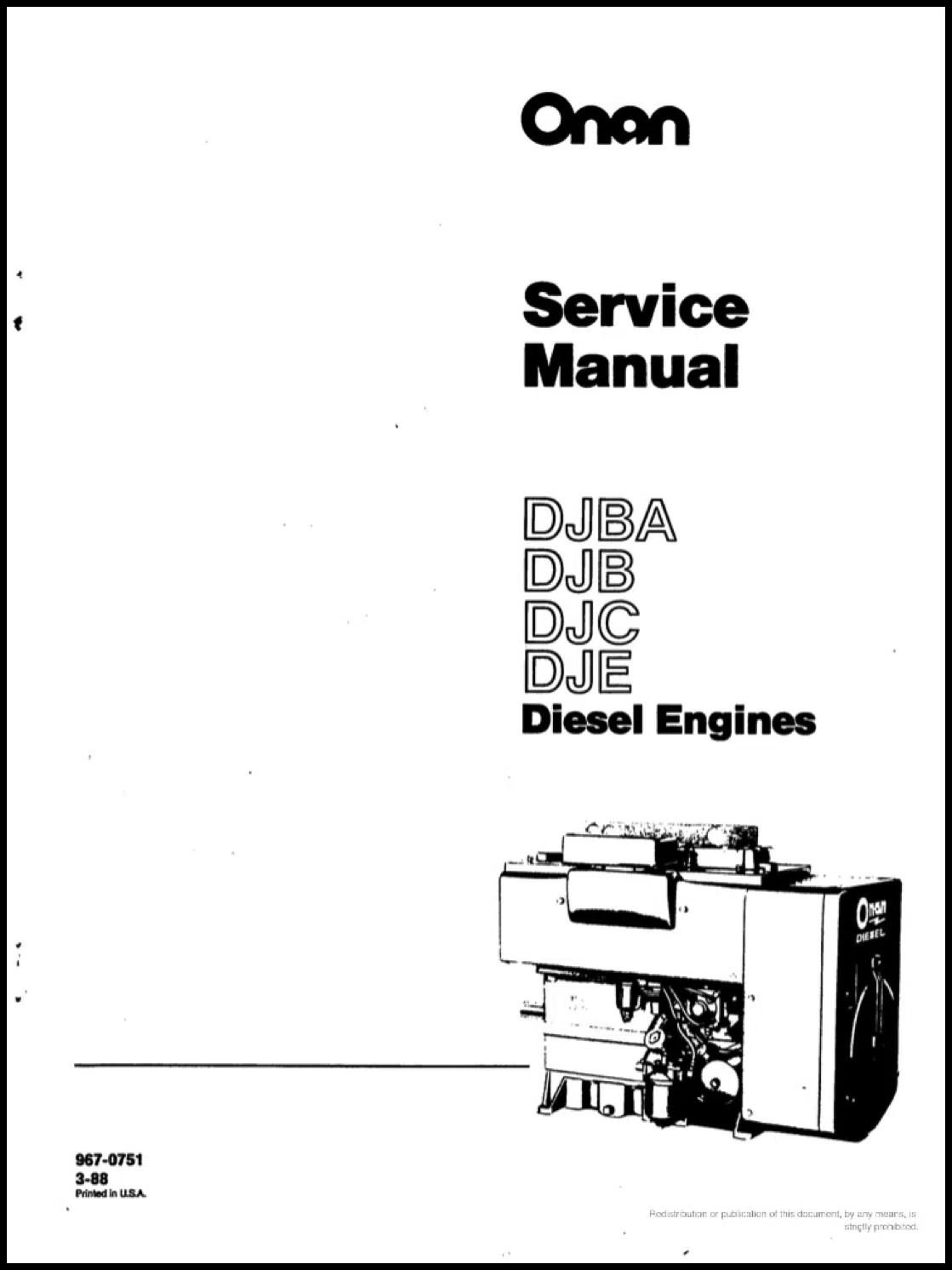Cover Of Onan Service Manual Djba Djb Djc Dje
