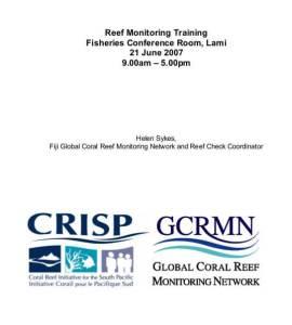 Reef Monitoring Training