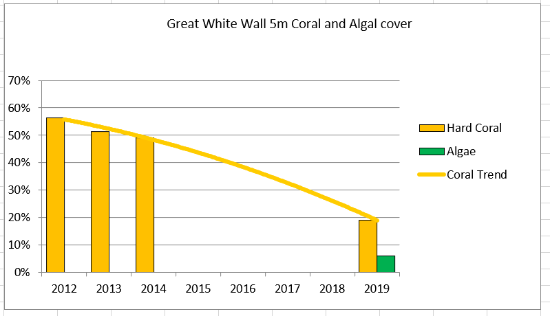 Fig 4. Hard Coral Cover - 5m on The Great White Wall  Taveuni Rainbow Reef
