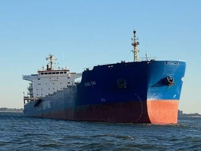 The Panamanian flagged 738-foot bulk coal carrier ran aground on a soft sandy bottom Wednesday