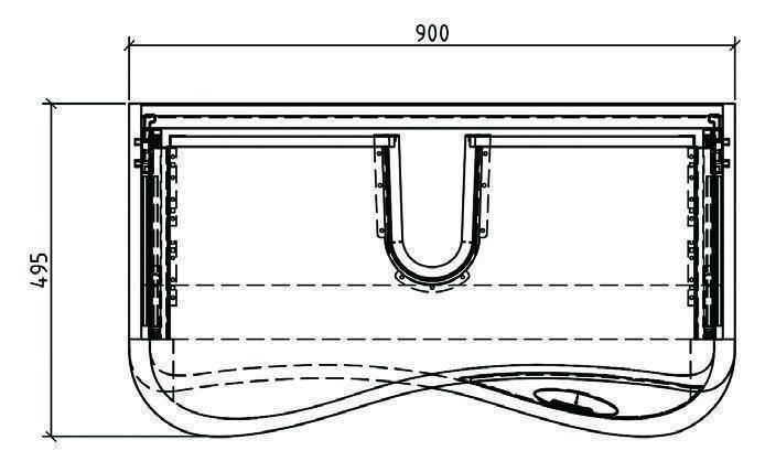 mobile bagno sospeso moderno 90 cm con lavabo, colonna e specchio - Primula Arredo Bagno