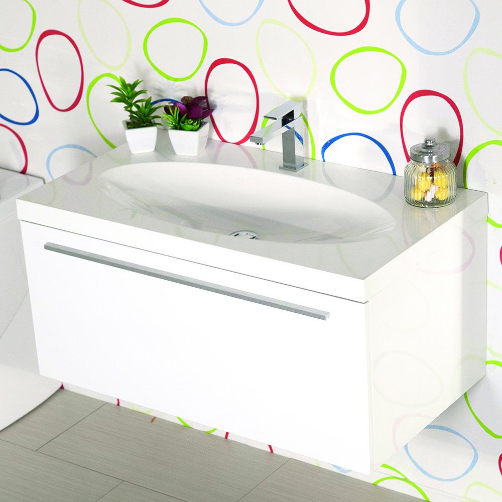Mobile bagno sospeso moderno 92 cm con lavabo edera bianco - Lavabo bagno sospeso ...
