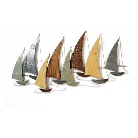 deco murale regate bateaux metal bois
