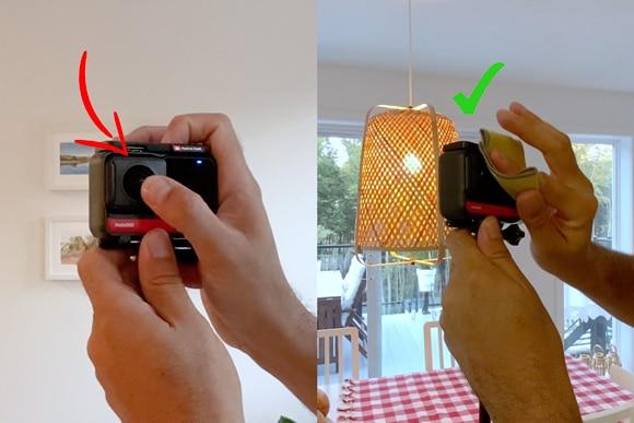 Limpiar los lentes de la Cámara Insta 360 One R, antes de empezar con Matterport