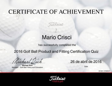 Mario Crisci Golf Ball Product and Fitting Certified