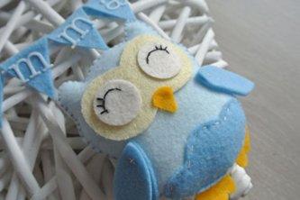 Fiocco nascita gufo azzurro