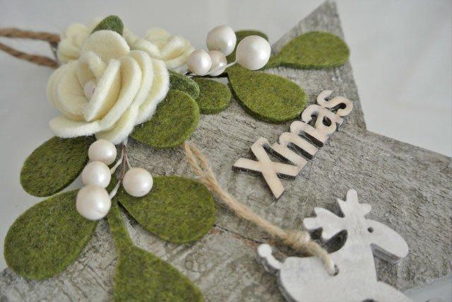Natale decorazione stella legno con renna