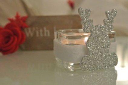 Natale portalumino renna argento